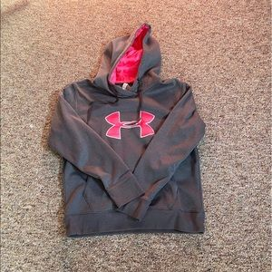 Gray/Pink Women's Under Armour Hoodie Large
